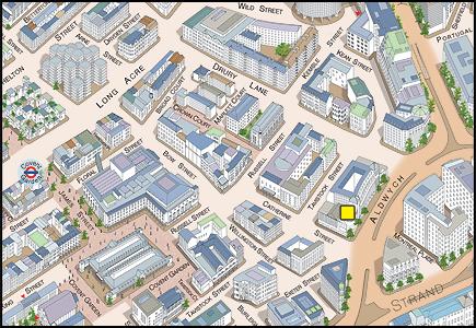 Novello Theatre 3D Location Map